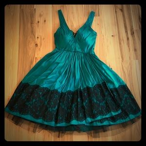 Plenty by Tracy Reese Teal Silk, Black Lace Dress